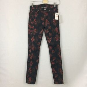NWT 7 for all mankind red floral Skinny jean 26